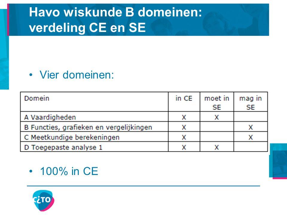 Havo wiskunde B domeinen: verdeling CE en SE