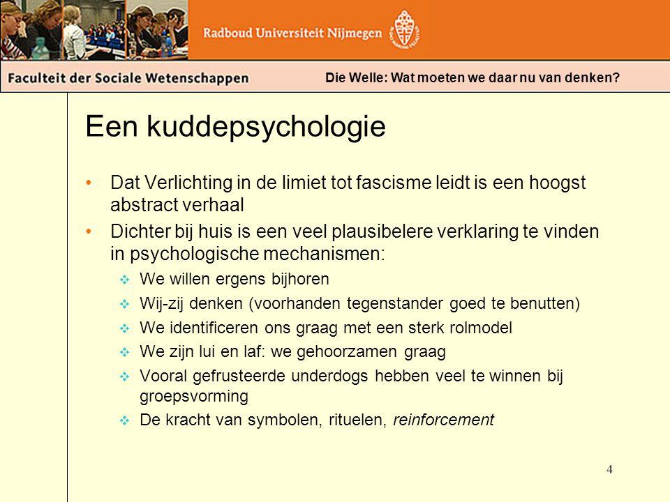 Een kuddepsychologie Dat Verlichting in de limiet tot fascisme leidt is een hoogst abstract verhaal.