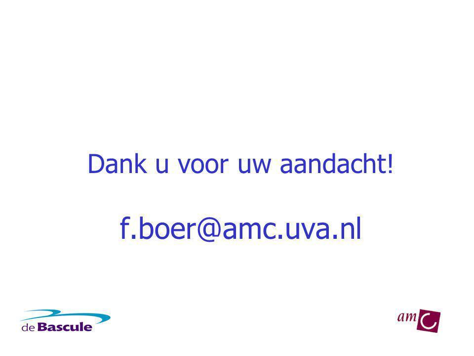 Dank u voor uw aandacht! f.boer@amc.uva.nl