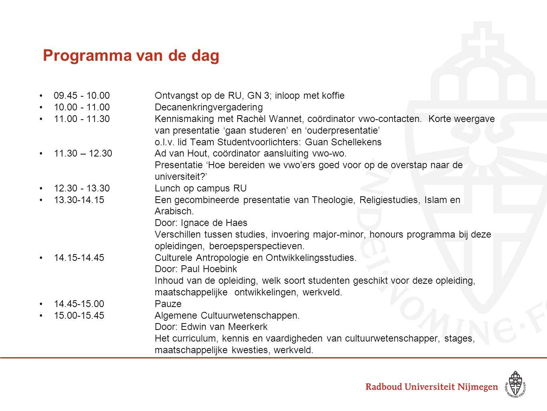 Programma van de dag 09.45 - 10.00 Ontvangst op de RU, GN 3; inloop met koffie. 10.00 - 11.00 Decanenkringvergadering.