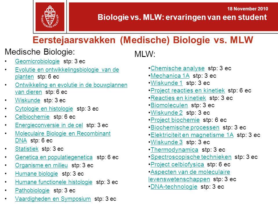 Eerstejaarsvakken (Medische) Biologie vs. MLW