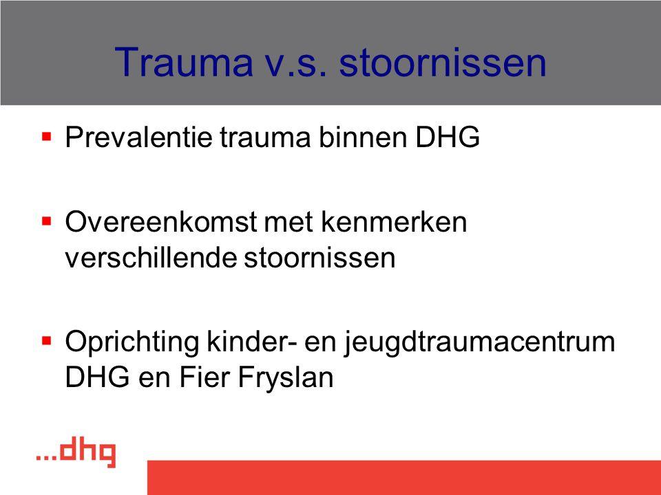 Trauma v.s. stoornissen Prevalentie trauma binnen DHG