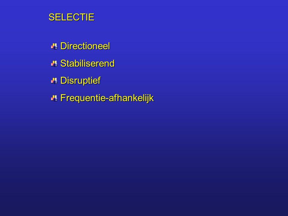 SELECTIE Directioneel Stabiliserend Disruptief Frequentie-afhankelijk