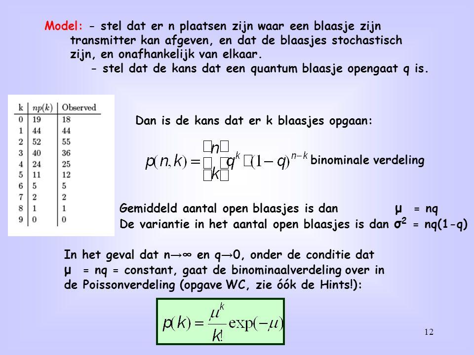μ = nq = constant, gaat de binominaalverdeling over in