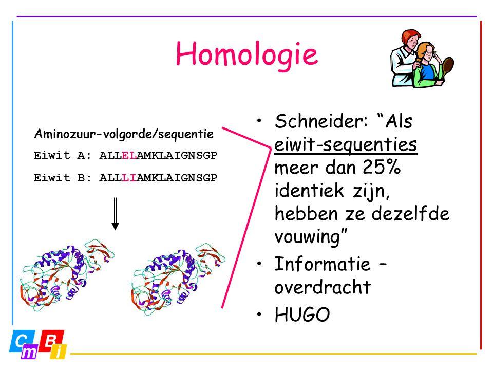 Homologie Schneider: Als eiwit-sequenties meer dan 25% identiek zijn, hebben ze dezelfde vouwing Informatie –overdracht.