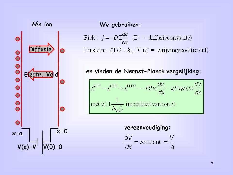 en vinden de Nernst-Planck vergelijking: