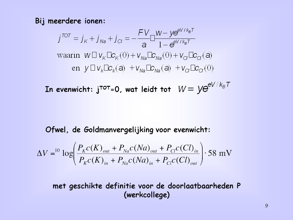 In evenwicht: jTOT=0, wat leidt tot