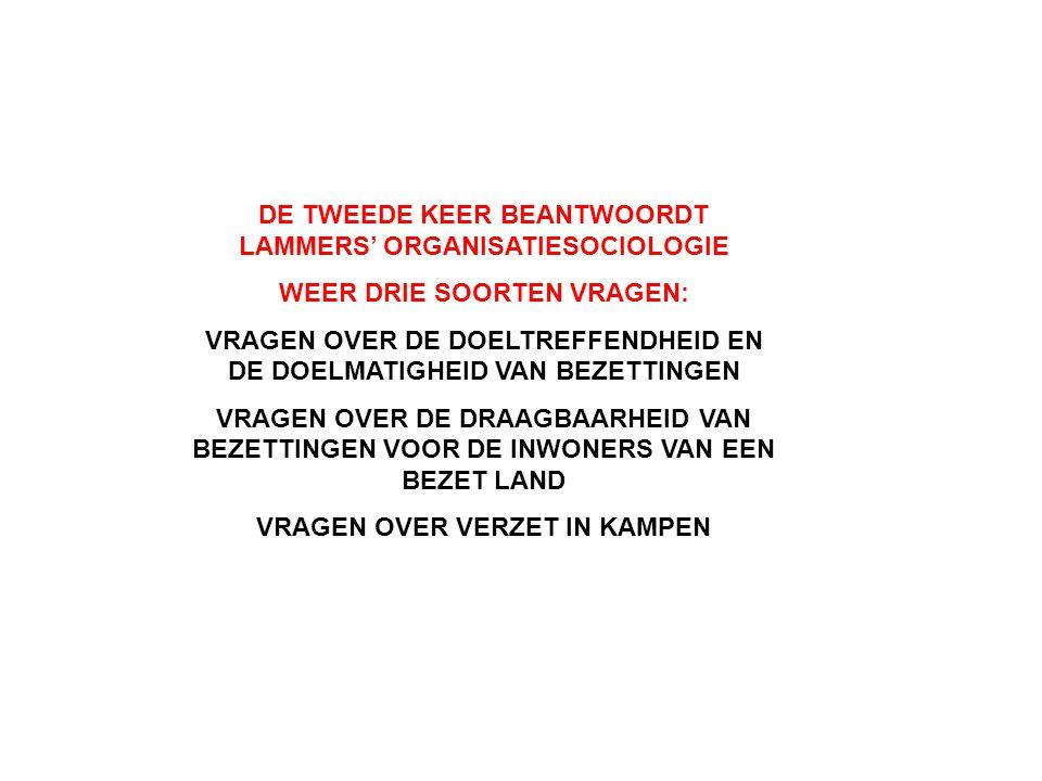 DE TWEEDE KEER BEANTWOORDT LAMMERS' ORGANISATIESOCIOLOGIE