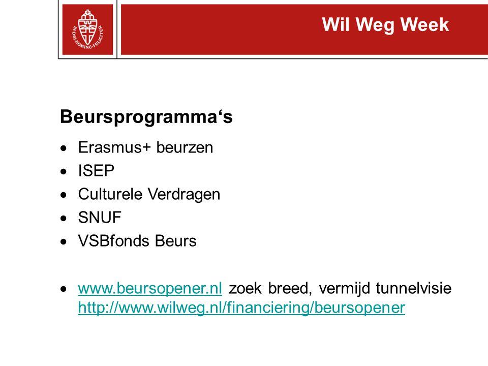 Wil Weg Week Beursprogramma's Erasmus+ beurzen ISEP