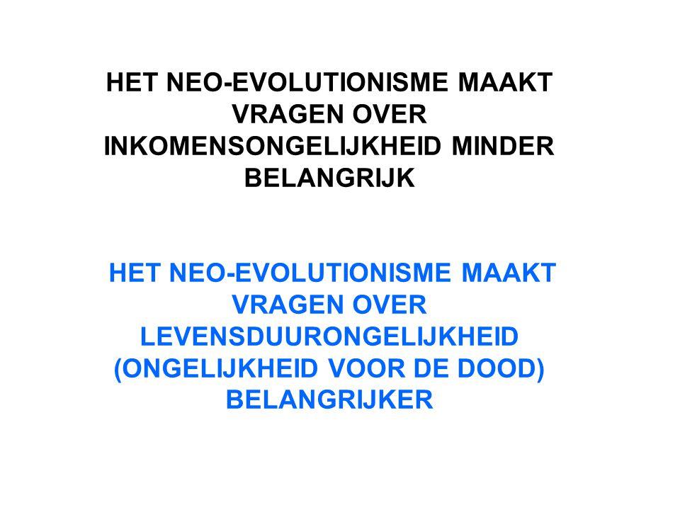 HET NEO-EVOLUTIONISME MAAKT VRAGEN OVER INKOMENSONGELIJKHEID MINDER BELANGRIJK