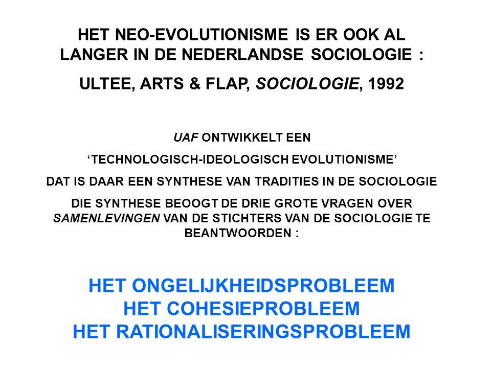 HET NEO-EVOLUTIONISME IS ER OOK AL LANGER IN DE NEDERLANDSE SOCIOLOGIE :