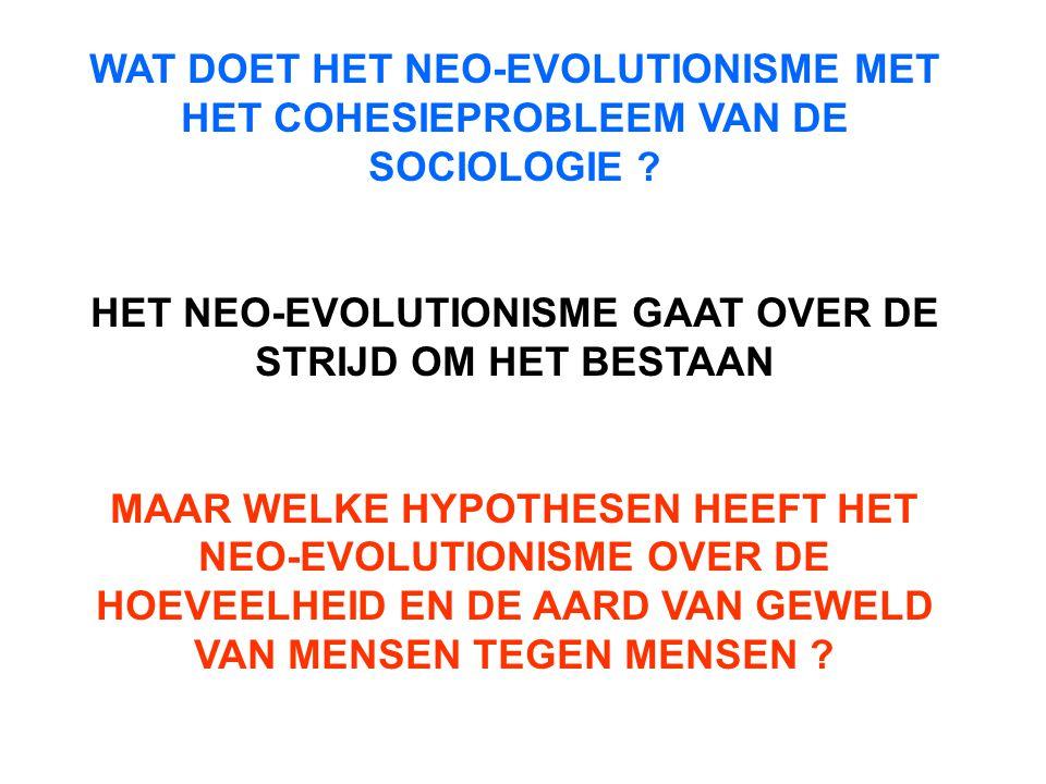 HET NEO-EVOLUTIONISME GAAT OVER DE STRIJD OM HET BESTAAN
