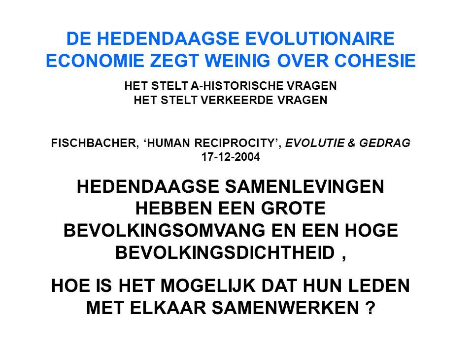 DE HEDENDAAGSE EVOLUTIONAIRE ECONOMIE ZEGT WEINIG OVER COHESIE