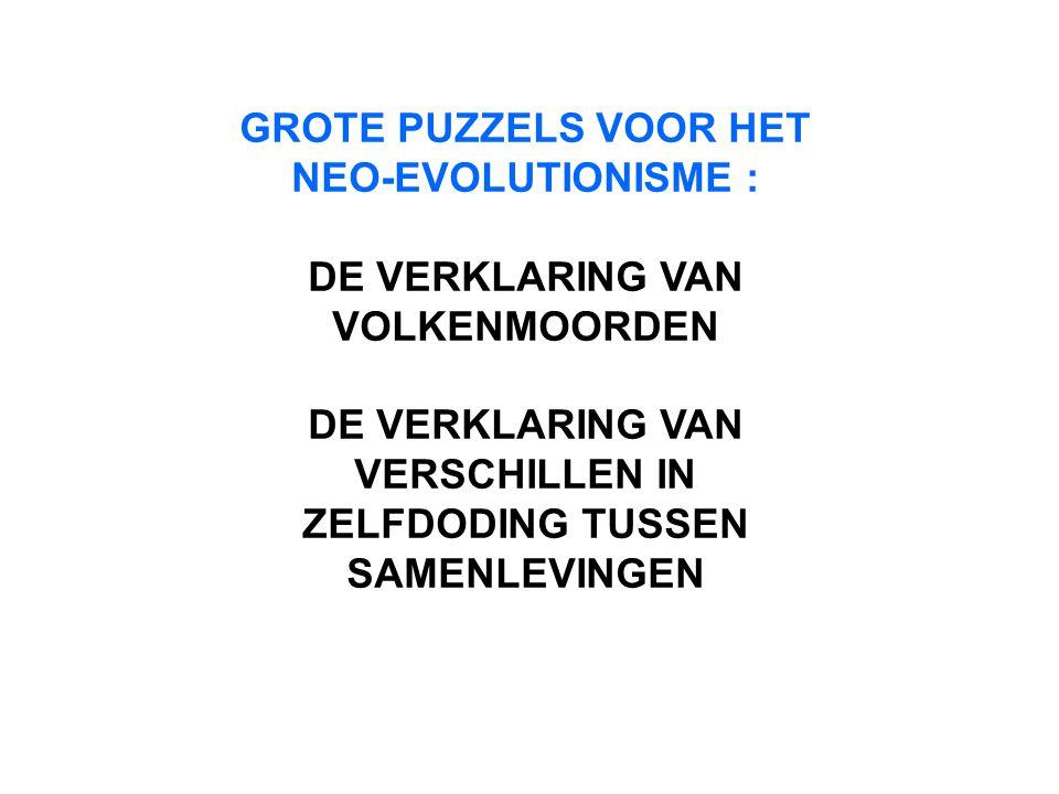 GROTE PUZZELS VOOR HET NEO-EVOLUTIONISME :