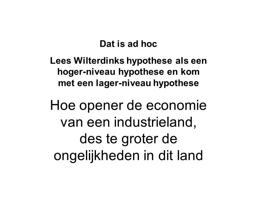 Dat is ad hoc Lees Wilterdinks hypothese als een hoger-niveau hypothese en kom met een lager-niveau hypothese.