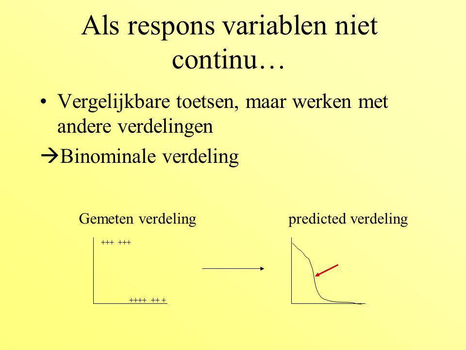 Als respons variablen niet continu…