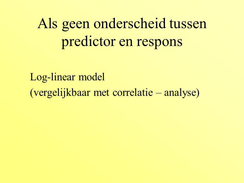 Als geen onderscheid tussen predictor en respons