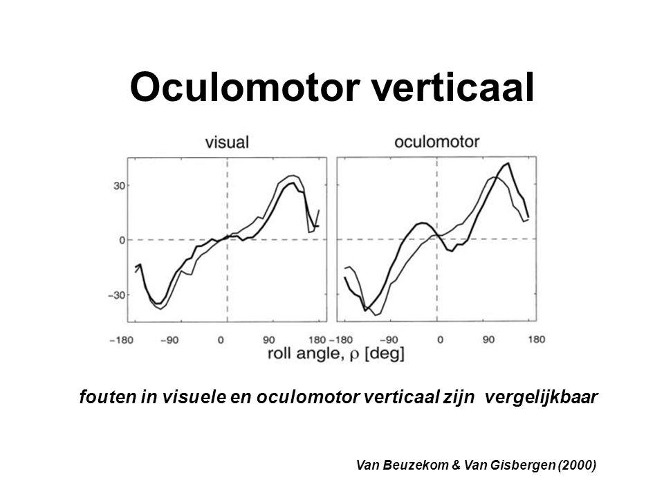 Oculomotor verticaal fouten in visuele en oculomotor verticaal zijn vergelijkbaar.