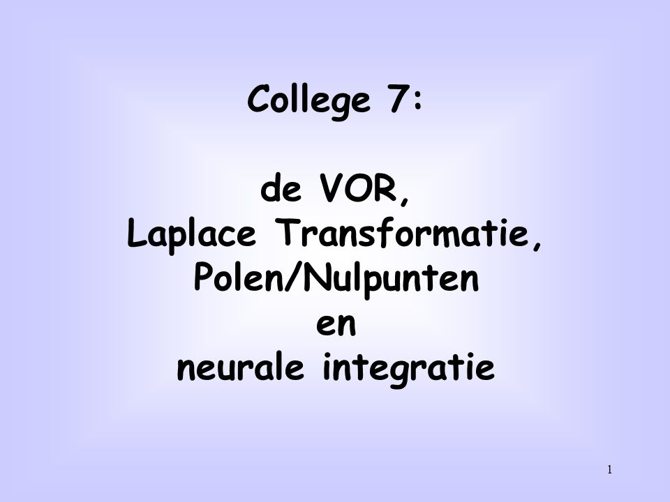 Laplace Transformatie,