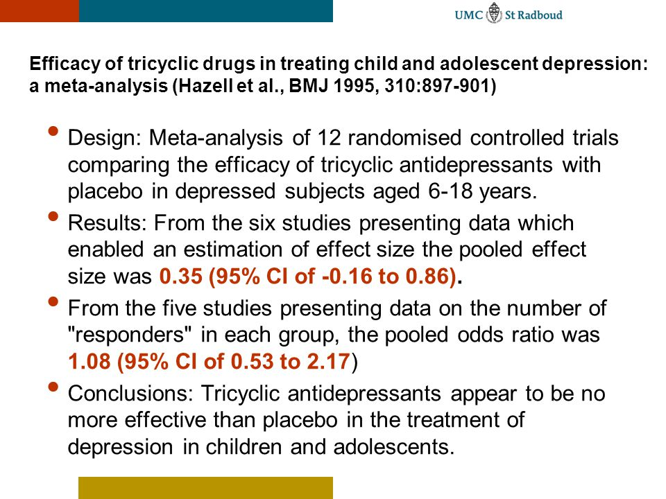 Efficacy of tricyclic drugs in treating child and adolescent depression: a meta-analysis (Hazell et al., BMJ 1995, 310:897-901)