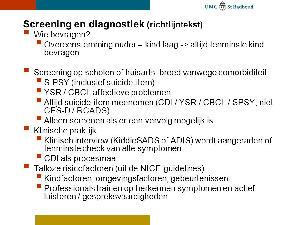 Screening en diagnostiek (richtlijntekst)