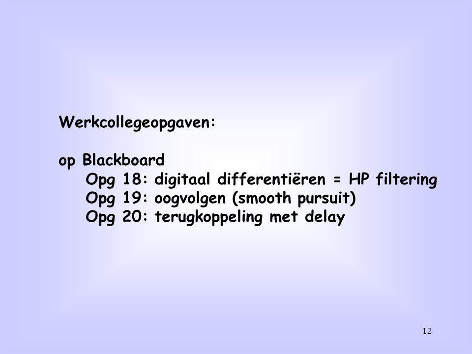 Werkcollegeopgaven: op Blackboard. Opg 18: digitaal differentiëren = HP filtering. Opg 19: oogvolgen (smooth pursuit)
