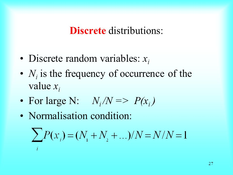 Discrete distributions: