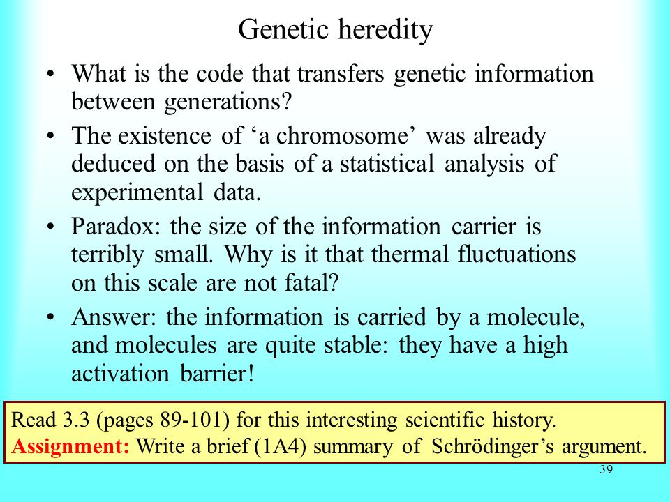 Genetic heredity What is the code that transfers genetic information between generations