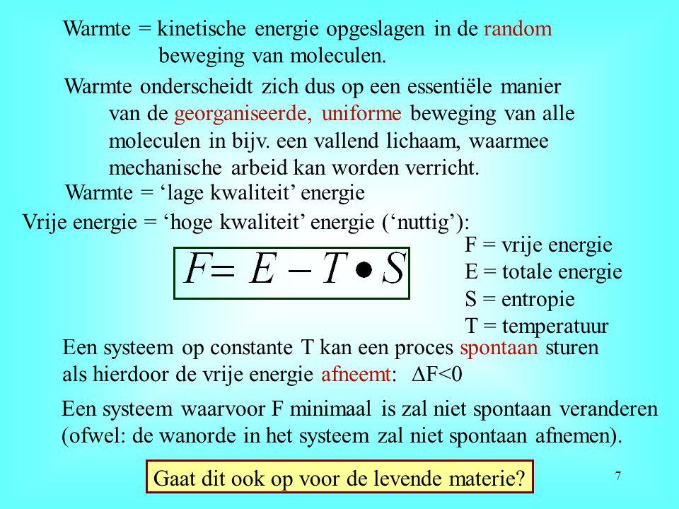 Warmte = kinetische energie opgeslagen in de random