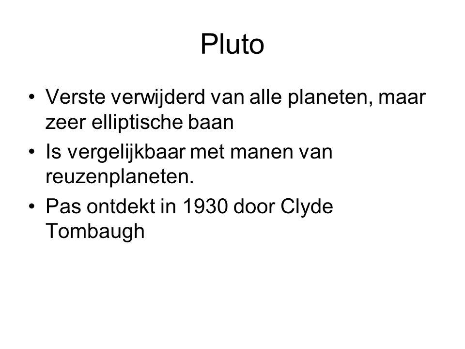 Pluto Verste verwijderd van alle planeten, maar zeer elliptische baan