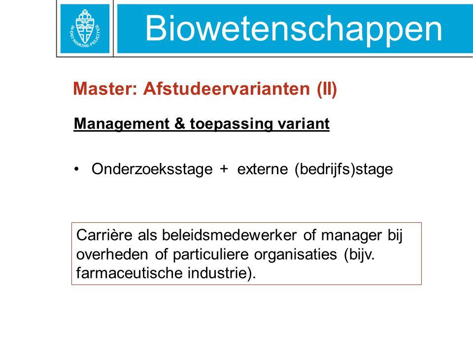 Master: Afstudeervarianten (II)