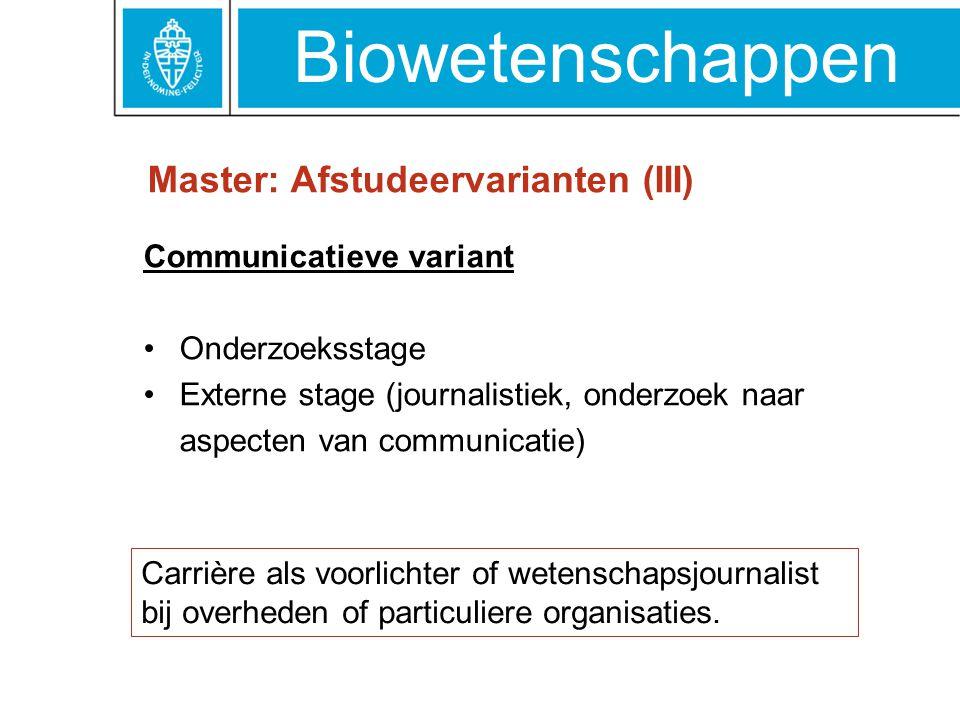 Master: Afstudeervarianten (III)