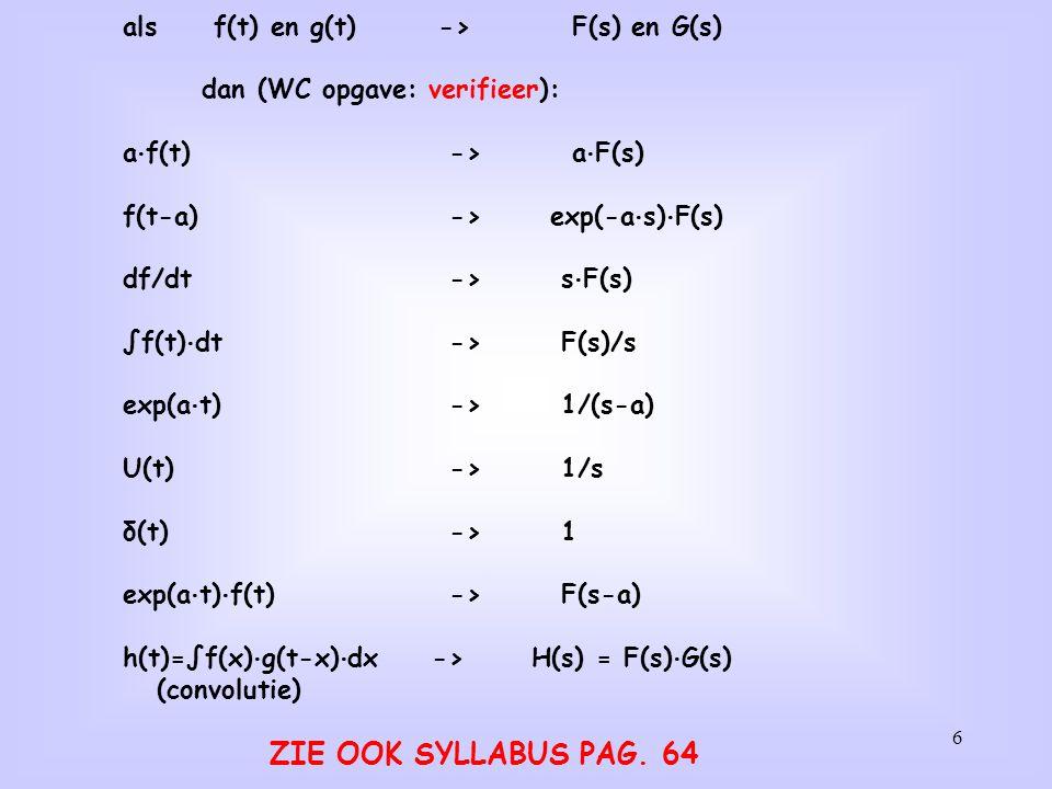 als f(t) en g(t) -> F(s) en G(s)