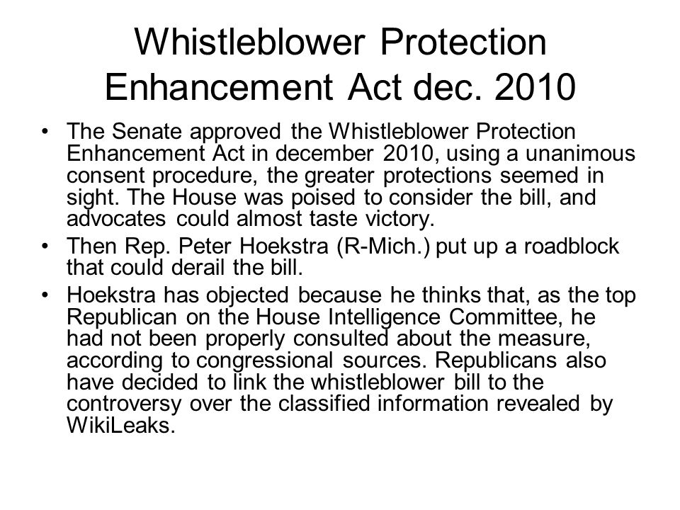 Whistleblower Protection Enhancement Act dec. 2010