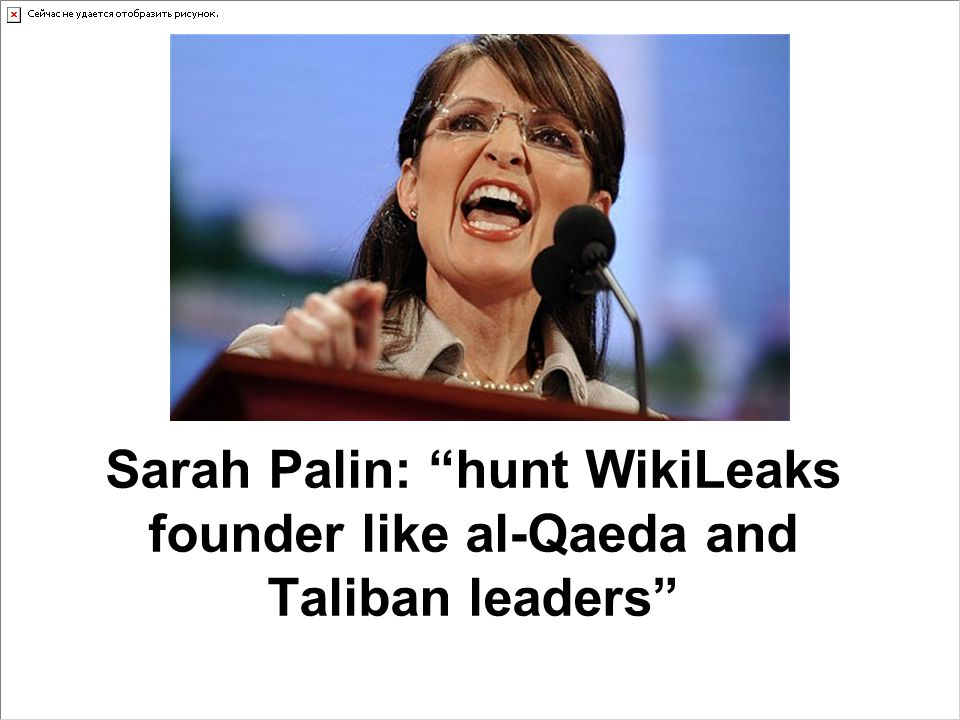 Sarah Palin: hunt WikiLeaks founder like al-Qaeda and Taliban leaders