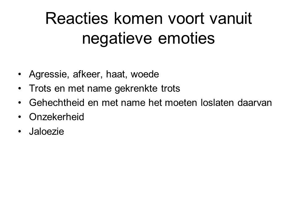 Reacties komen voort vanuit negatieve emoties
