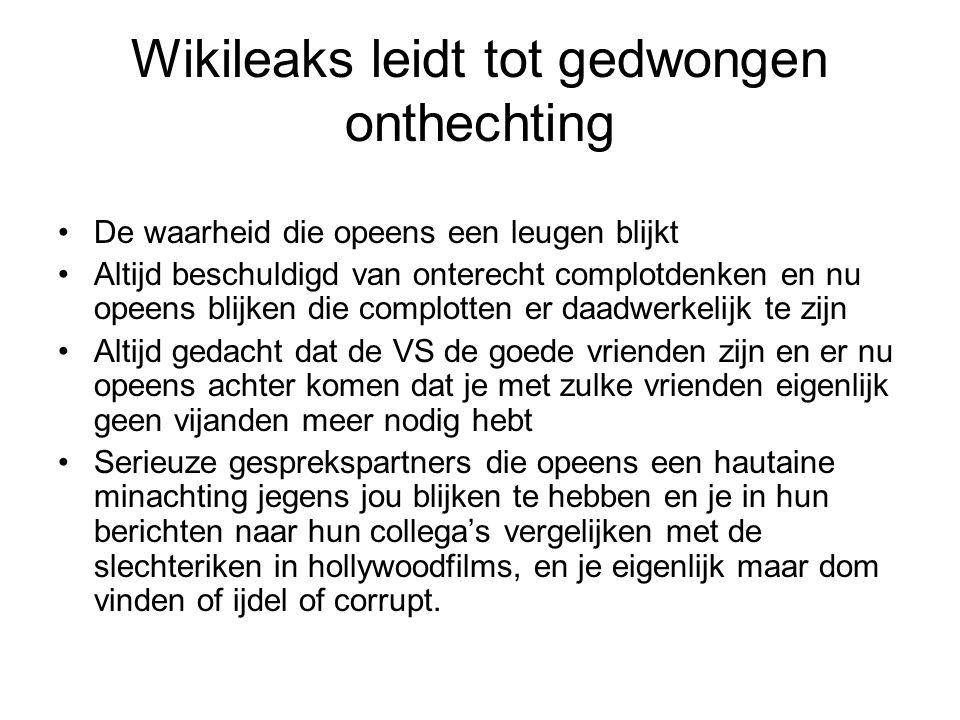 Wikileaks leidt tot gedwongen onthechting