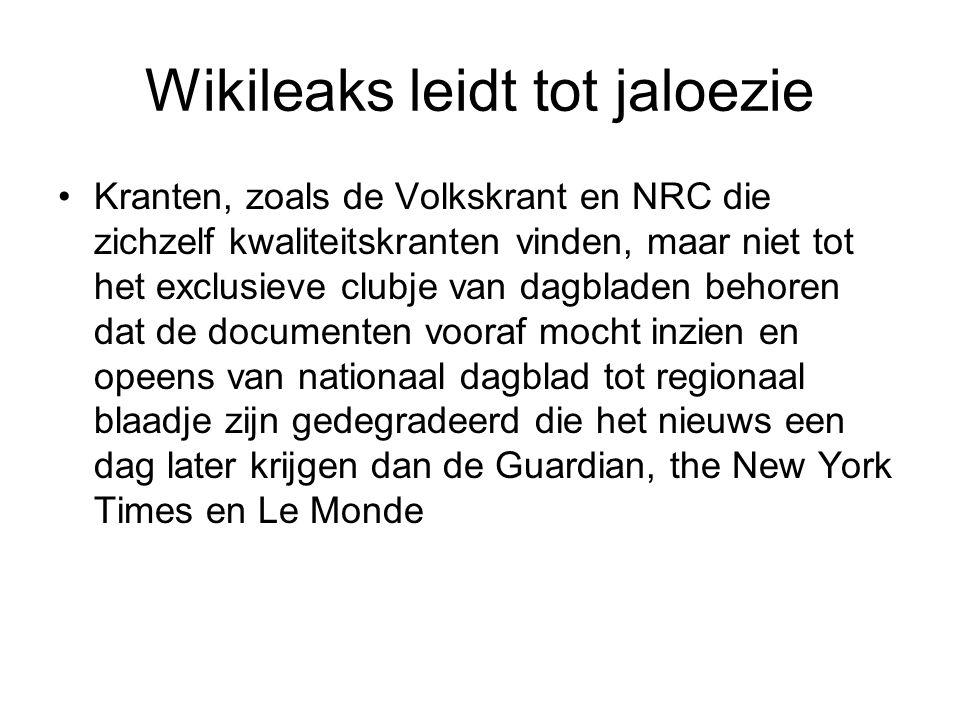 Wikileaks leidt tot jaloezie