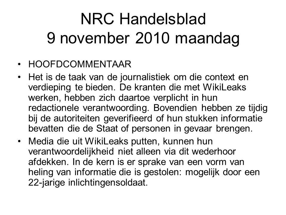 NRC Handelsblad 9 november 2010 maandag