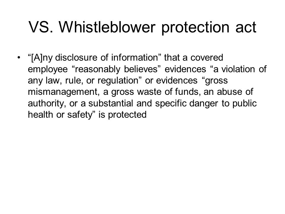 VS. Whistleblower protection act