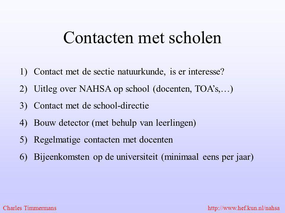 Contacten met scholen Contact met de sectie natuurkunde, is er interesse Uitleg over NAHSA op school (docenten, TOA's,…)