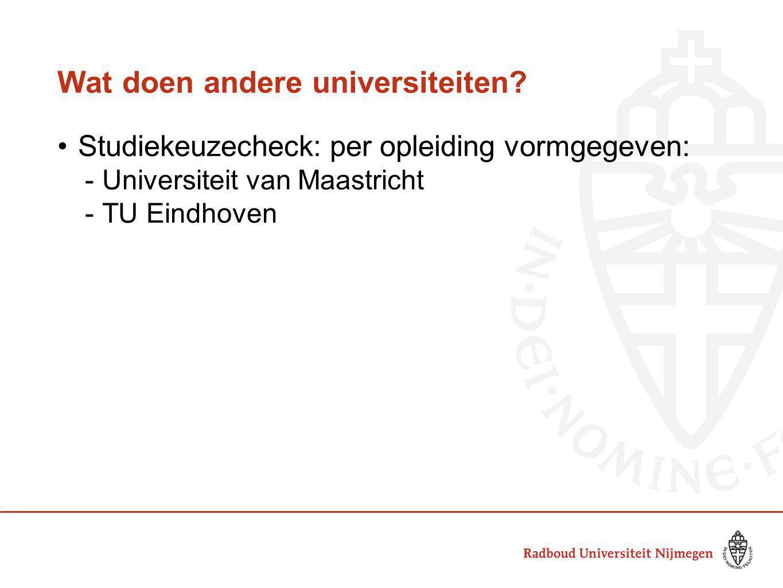 Wat doen andere universiteiten