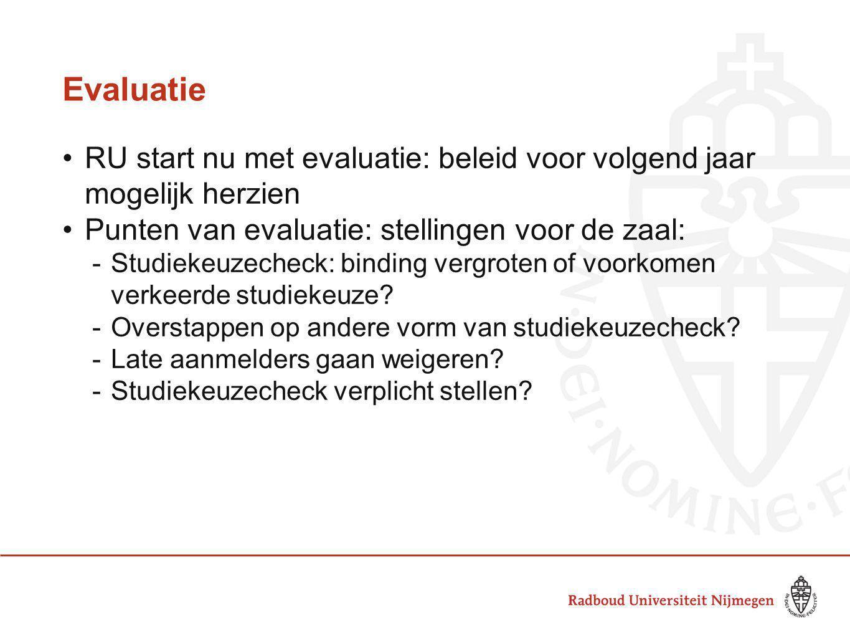 Evaluatie RU start nu met evaluatie: beleid voor volgend jaar mogelijk herzien. Punten van evaluatie: stellingen voor de zaal: