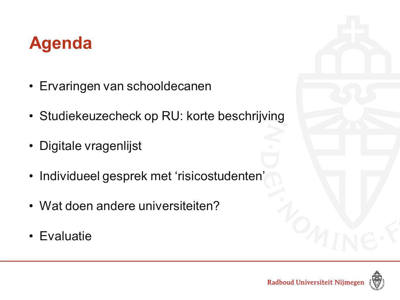Agenda Ervaringen van schooldecanen