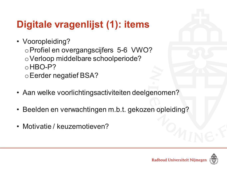 Digitale vragenlijst (1): items