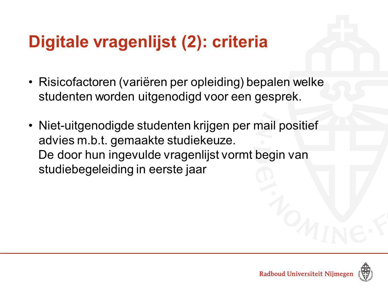 Digitale vragenlijst (2): criteria