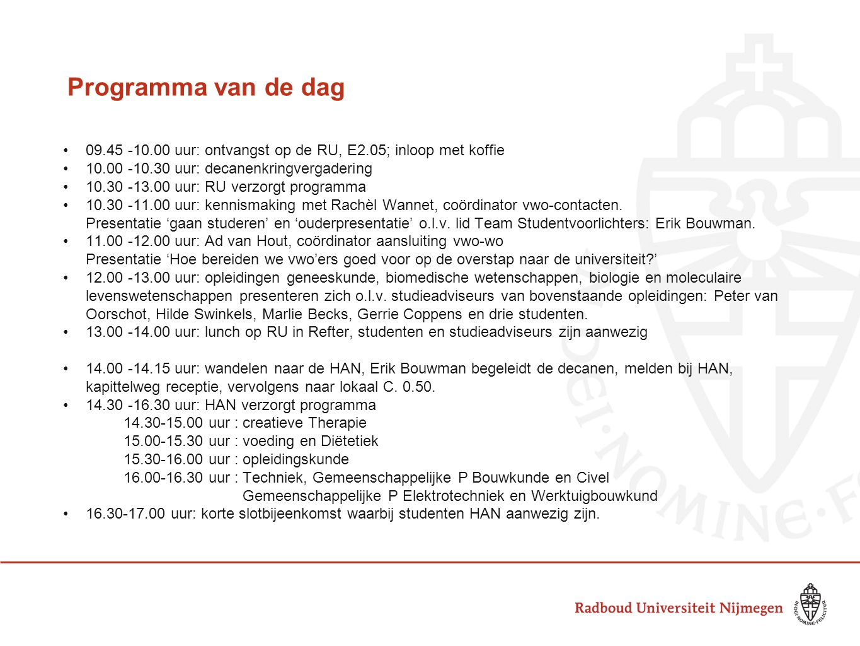 Programma van de dag 09.45 -10.00 uur: ontvangst op de RU, E2.05; inloop met koffie. 10.00 -10.30 uur: decanenkringvergadering.