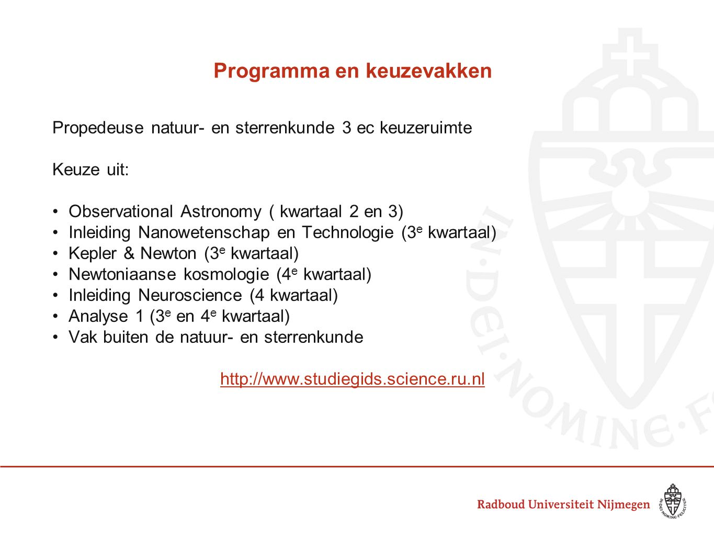 Programma en keuzevakken