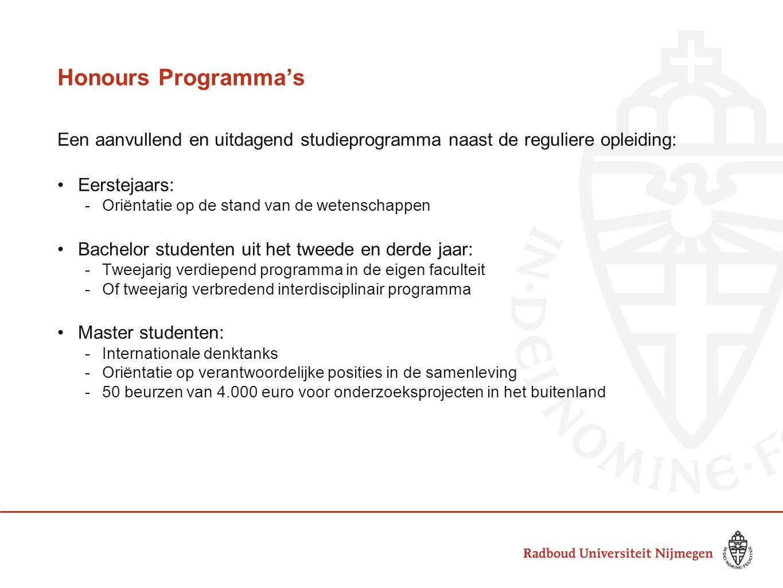 Honours Programma's Een aanvullend en uitdagend studieprogramma naast de reguliere opleiding: Eerstejaars: