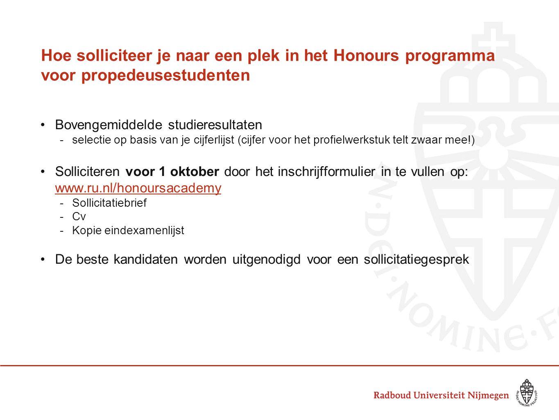 Hoe solliciteer je naar een plek in het Honours programma voor propedeusestudenten